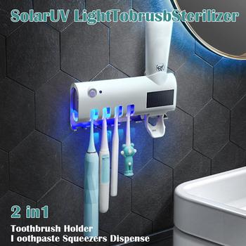3 w 1 sterylizator UV do szczoteczki do zębów fotokatalizator uchwyt do pasty do zębów uchwyt na szczoteczki do zębów automatyczny dozownik pasty do zębów tanie i dobre opinie Aihogard CN (pochodzenie) Z tworzywa sztucznego black white Toothbrush disinfection UV Toothbrush Sterilizer Toothbrush Sanitizer