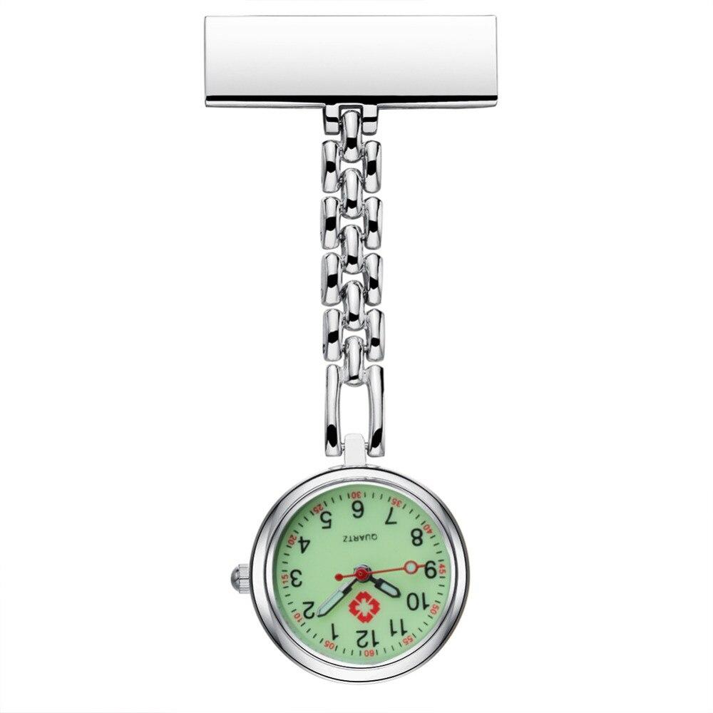 Nurse Luminous Noctilucent Fluorescent Dial Brooch Clip Quartz Pocket Watches