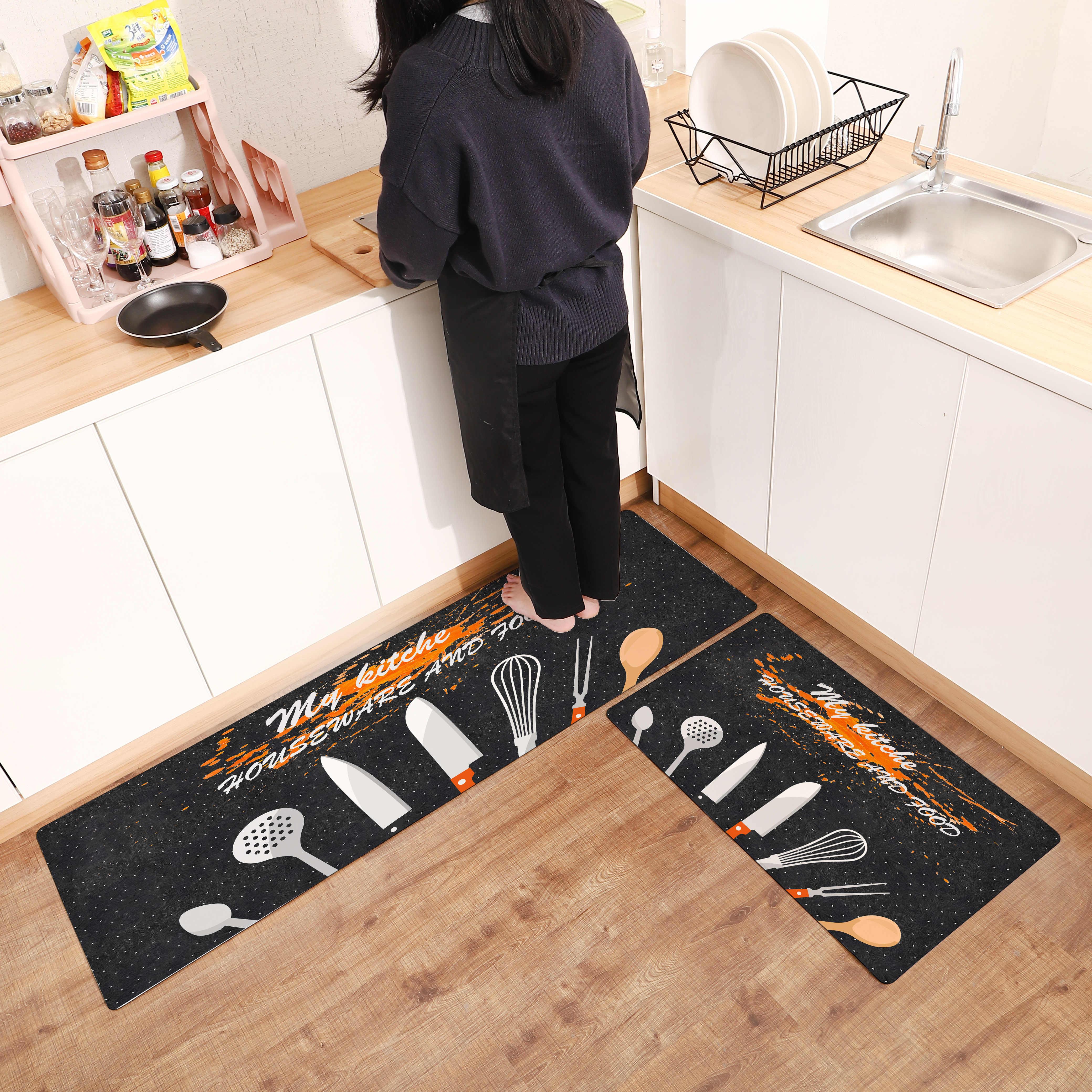 Creative Long Kitchen Mat PVC Carpet Non slip Floor Mat Entrance