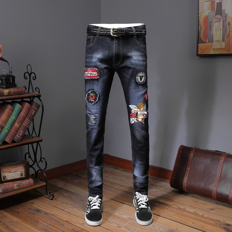 Jeans Homme Designer Jeans Men's Badge Patches Ripped Jeans Slim Skinny Distressed Stretch Denim Pants Erkek Jean Pantolon