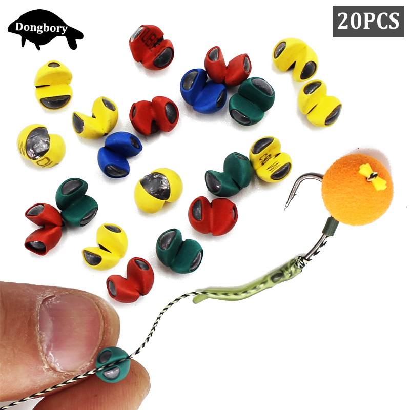 20PCS Carp Fishing Rubber Coated Split Shot Sinkers Weight 1B 2B 3B Lead Sinkers For Carp Fishing Rigs Making Tackle Accessories