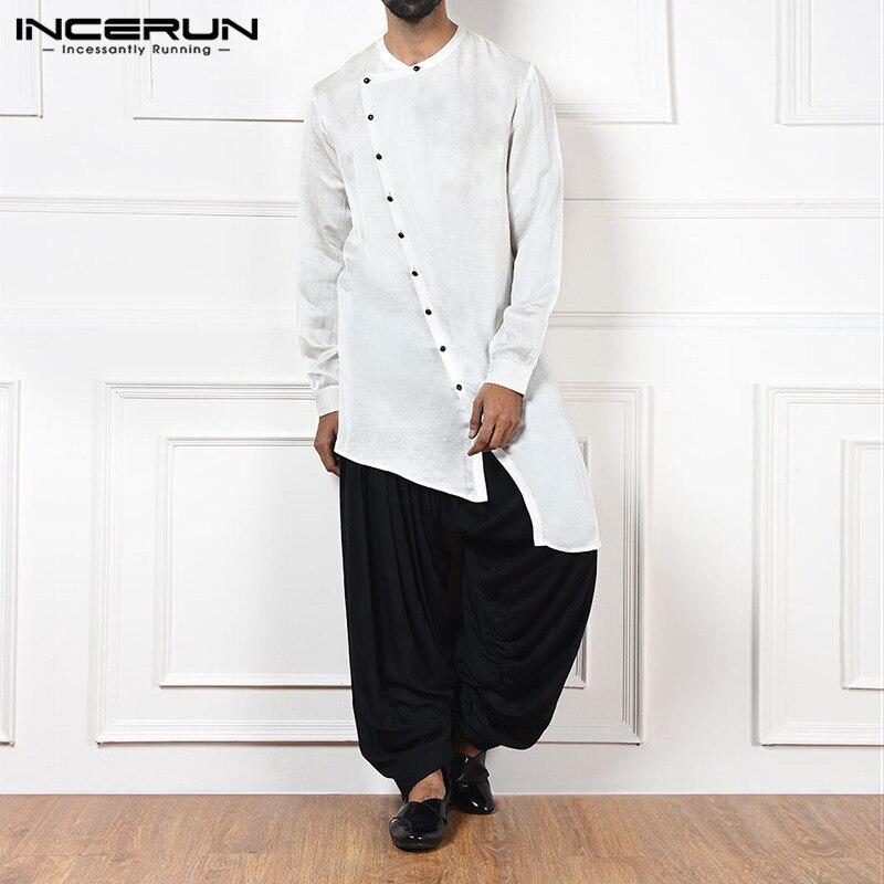 INCERUN Retro Casual Men Irregular Shirt Solid Color Cotton Long Sleeve Button Vintage Long Tops Loose Men Indian Shirts Clothes