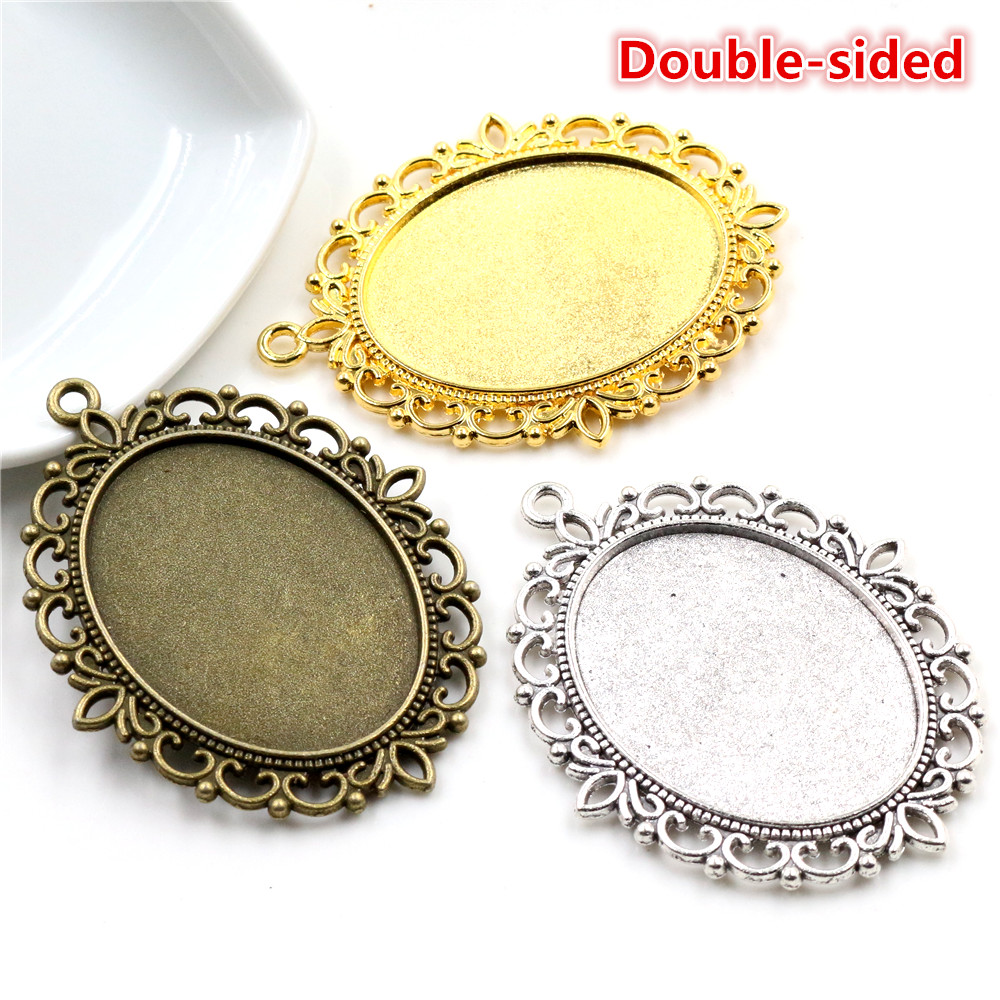 New Fashion 5pcs 30x40mm Inner Size Antique Bronze And Silver Gold  Double Side Style Cabochon Base Setting Charms Pendant