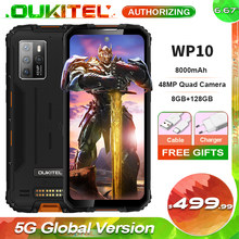 OUKITEL WP10 IP68 Waterproof 5G Rugged Smartphone 8GB+128GB 8000mAh 48MP Camera 6.67'' FHD+ Global Version Mobile Phone NFC