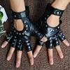 1 Pair Halloween Black Pu Leather Fingerless Gloves Female Half Finger Driving Women Fashion Punk Gloves Dance Rivets Gloves 1