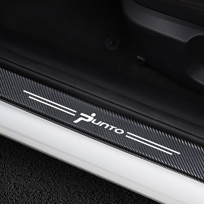 4PCS/Set Door Sills Scuff Plate Trim Welcome Pedal Car Threshold Cover Sticker For Fiat Punto Carbon Fiber Protector Accessories