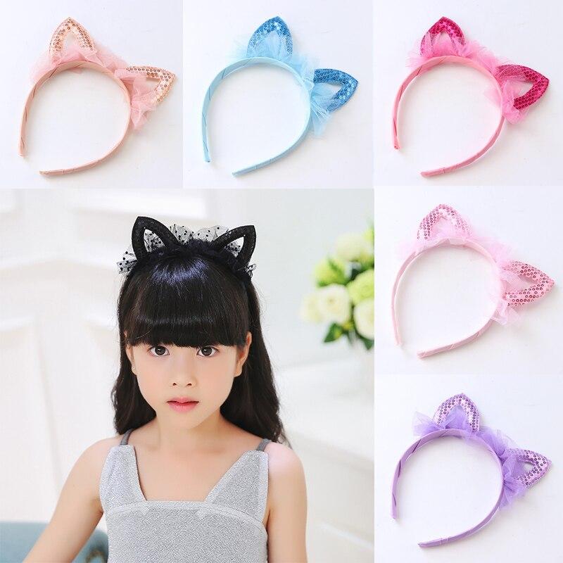 Baby Girls Cute Hair Accessories Kids Sequin Cat Ear Design Headband Headwear Apparel Photography Prop Party Gift
