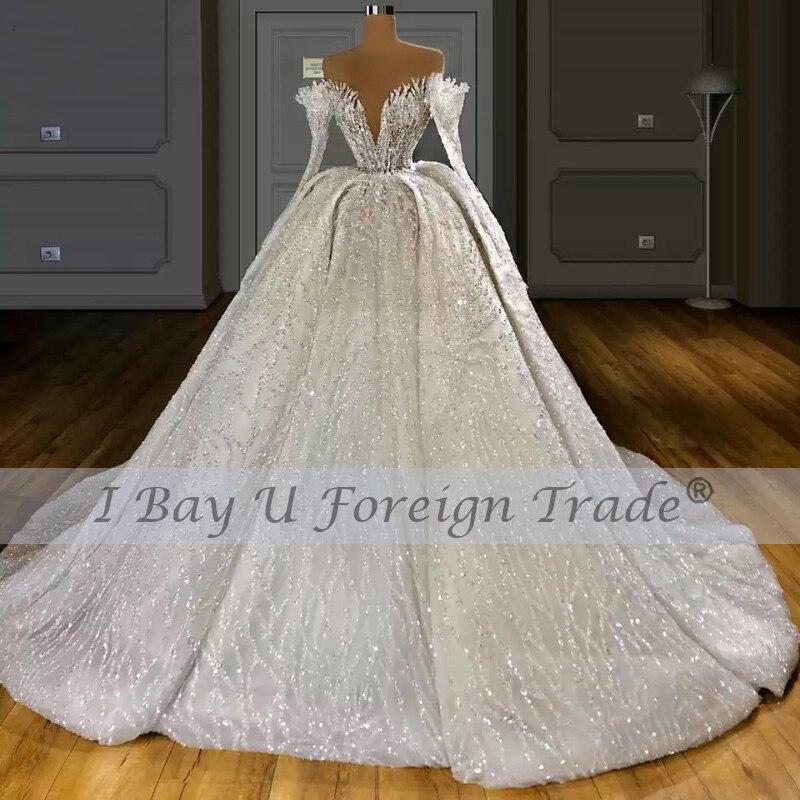 Dress Luxe 6m Wedding De The Beading Lace Gown 2021 Train Full Ball Luxury Princess Shoulder Off Veil Long 350cm