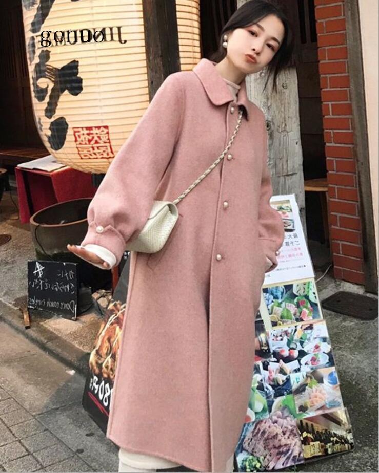 Fashion Casual Coat Women Wool Coats Women Female Jacket Winter Woman Coat Loose Single Breasted Warm Wool Long Women Coat