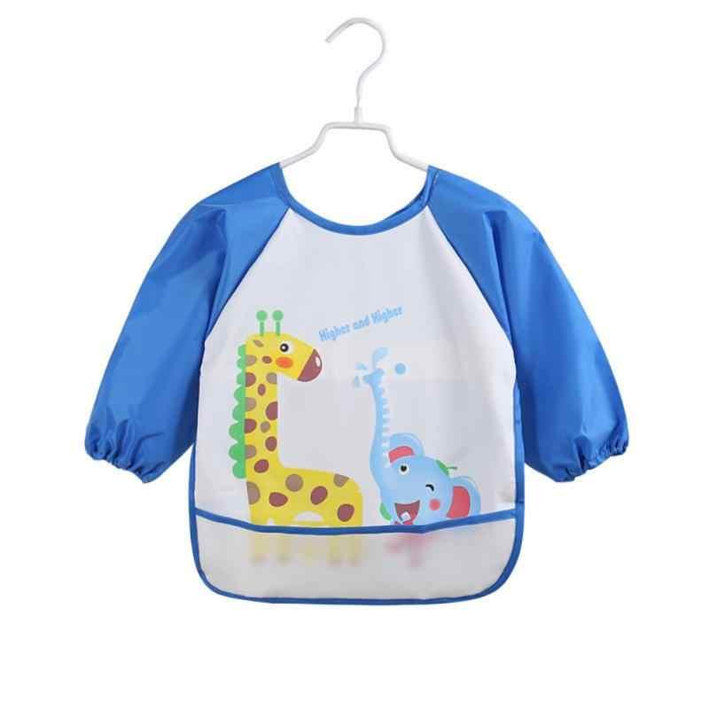 תינוק עמיד למים ארוך שרוול חלוק ליקוק ילדי ילדים האכלת ציור שמלת חמוד קריקטורה סינר בנות בני חדש
