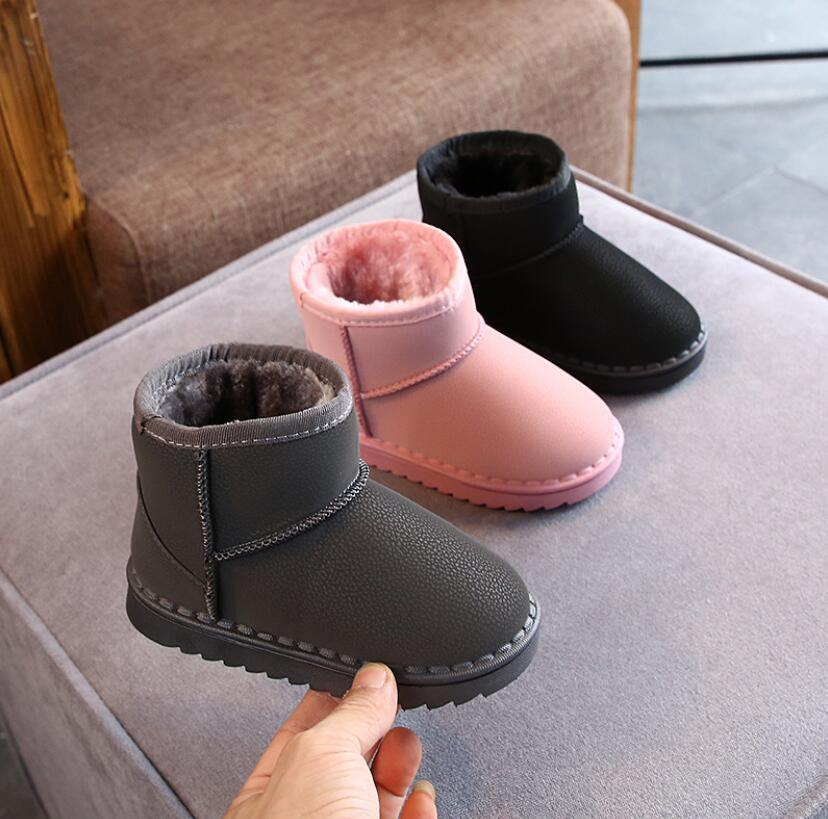 Warm Kids Snow Boots For Child Winter Princess Thick Plush Sport Shoes Non-slip Flat Round Toe Girls Baby Lovely Martin Boots
