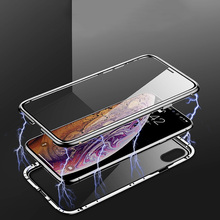 Magnetic Metal Phone Case For iPhone XS MAX Double Tempered Glass Adsorption phone case X cover