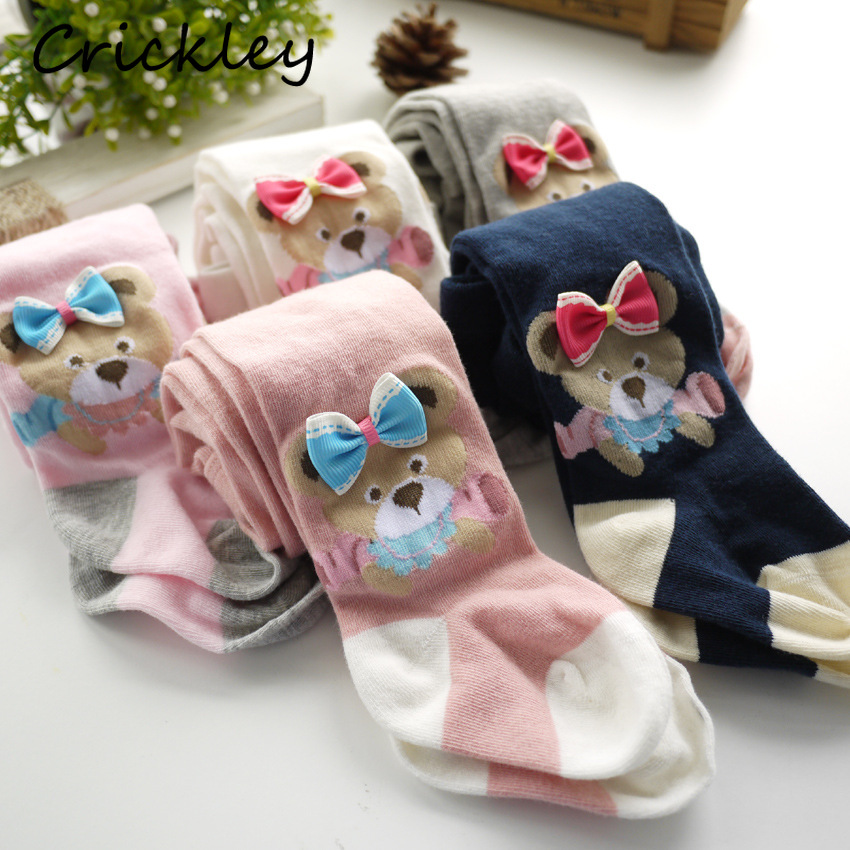 Cartoon Bear Baby Girls Stockings Cute Bowknot Princess Kids Tights Knitted Cotton Pantyhose For Children Clothes 0-4 Years