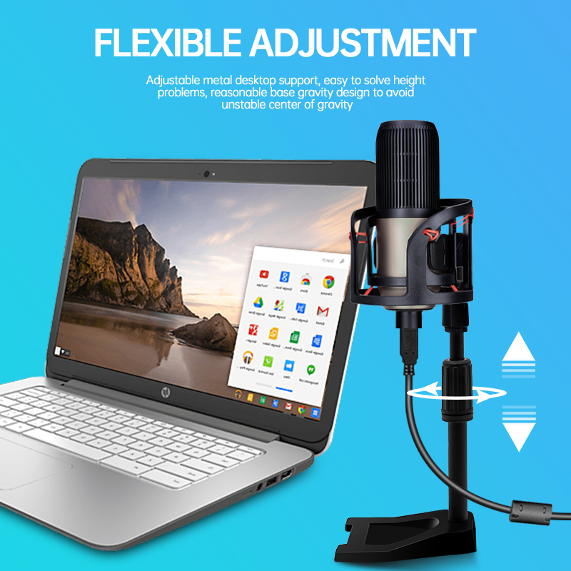 ERZHEN Computer Recording Metal Professional Condenser Microphone USB Stand Set Notebook PC YouTube Recording Vocals-K192GT