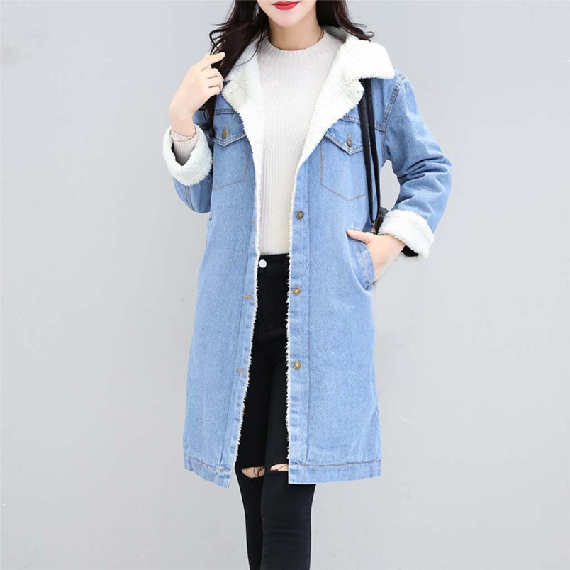 Winter Womens Blue Jean Jacket Thicken Warm Fleece Denim Coat Thickness Long Outwear Fashion Sweet Clothing For Ladies 50LY31 (4)