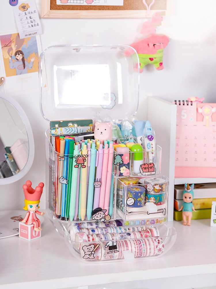 Grote Capaciteit Potlood Storage Case Container Up Organizer Box Desktop Diversen Opbergdoos Briefpapier Doos School