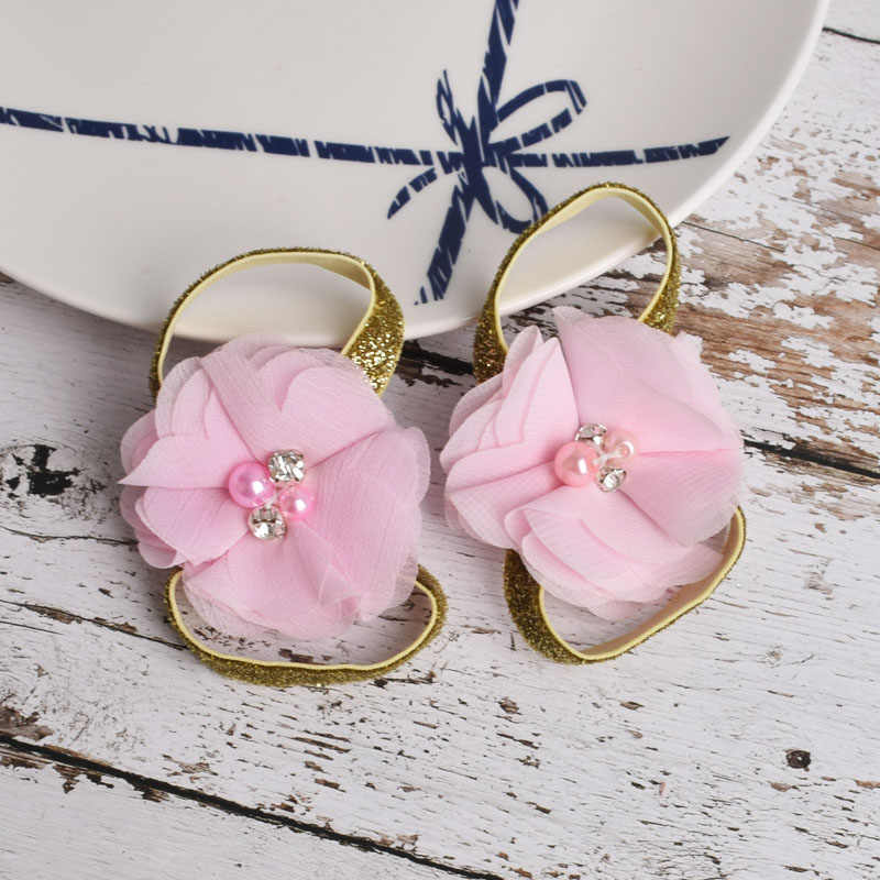 New Baby Barefoot Sandals Glitter Gold Band Flower Newborn Sandals Baptism Shoes Baby Toddler Shoes Photo Props Newborn to 12M