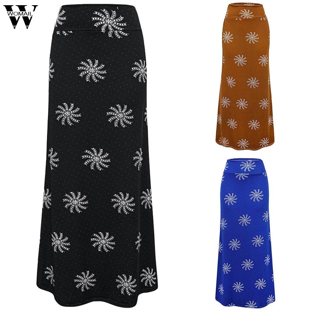 Womail Women Skirt Summer 2019 Fashion Sexy Print High Waist Flower Printed Bandage Pencil Skirt Bodycon Long Skirt Casual 828