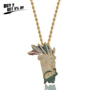 Image 2 - JINAO, кубический циркон, цепочка со льдом, Золотая мода, UKA ожерелье с подвеской маской, ювелирные изделия в стиле хип хоп, массивные ожерелья для мужчин и женщин, подарки