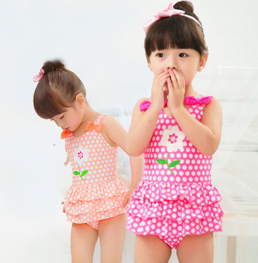 Special Offer Closeout KID'S Swimwear Small Children Baby GIRL'S Students Pink Polkadot Flower Skirt-One-piece Swimwear