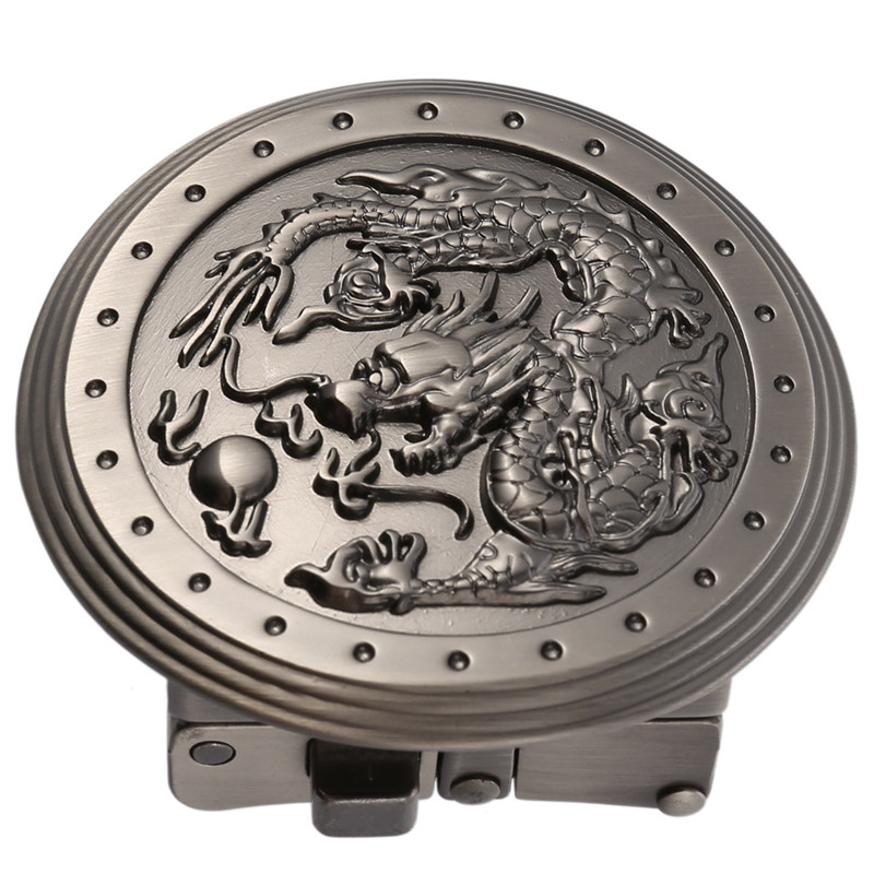 Deepeel 1pc Retro High-grade Zinc Alloy Automatic Buckle Mens Dragon Belt Buckles For 3.4-3.6cm Leather Strap Accessories YK066