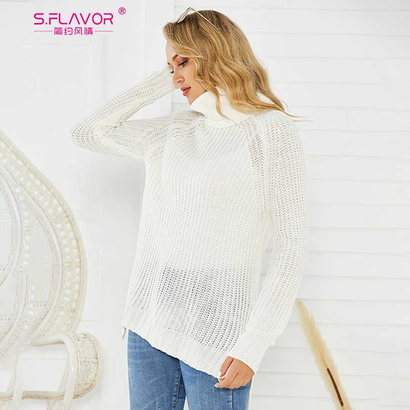 Suéter de cuello alto tejido de S. FLAVOR para mujer moda Otoño Invierno sólido jerseys de punto Casual Mujer