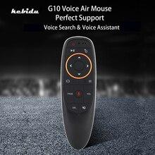 Kebidu receptor USB 2,4G G10S Air Mouse, Control por voz, sensor giroscópico para Android TV BOX G10 Mini, Control remoto inteligente inalámbrico