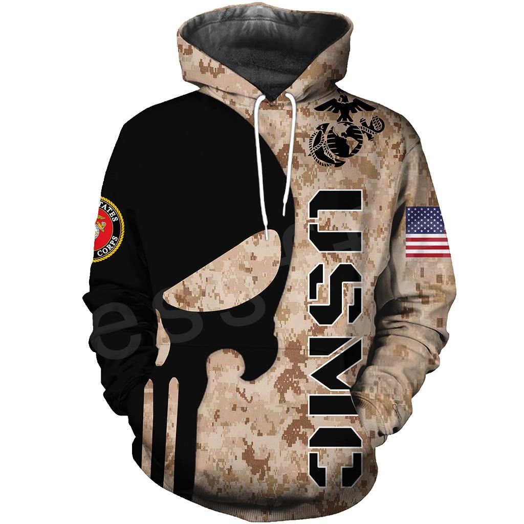 Tessffel America Marine Camo Skull Soldier Army Tracksuit NewFashion Pullover 3DPrint Unisex Zip/Hoodies/Sweatshirts/Jacket A-10