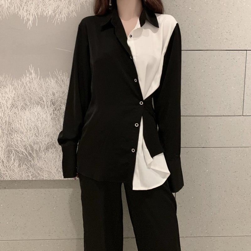 HziriP Korean Patchwork Vintage Loose Color-Hit Stylish Women Elegant Retro Fashion Fresh Shirt New Arrival Female Cute Shirts