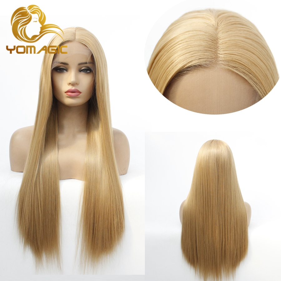 Yomagic Long Straight Synthetic Hair Lace Front Wigs For Women Natural Hairline Blonde Color Synthetic Glueless Lace Wigs