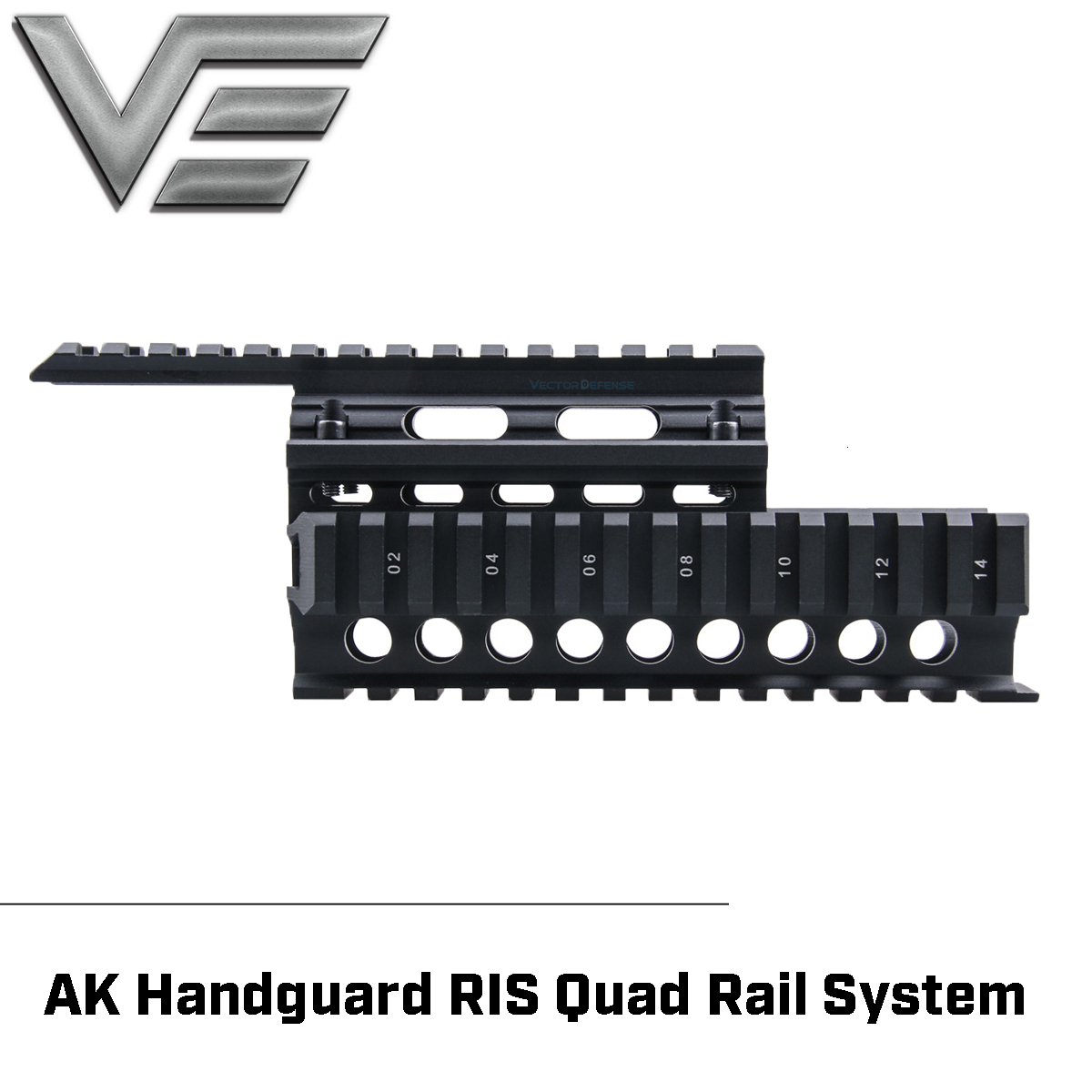 Vector Optics 2-piece Handguard Quad Rail System Mount Fit AK  47 & 74 Free Rail Cover Guards