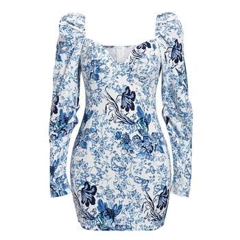 Aartiee Puff long sleeve dress mini Floral print short dress Square collar Party club bodycon 2019 Winter dress female Elegant 5