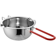 CN Stainless Steel Universal Anti-Scald Handle Hot Pot Melted Butter Chocolate Cheese Caramel, 400Ml (Silver)