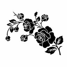 HobbyLane Fashion 3D Flower Black White Color Pattern Car-Styling Vinyl Car Sticker Decal