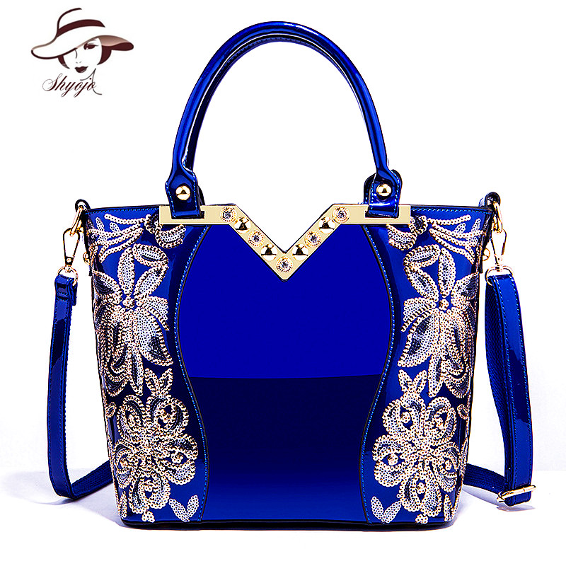 2020 Patent Leather Shoulder Bag Female Evening Party Bags Brand Designer Handbags Large Capacity Women Sequined Cross Body Tote|Shoulder Bags| - AliExpress