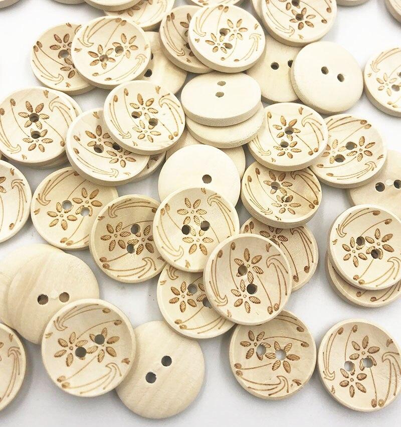 50 шт. деревянные пуговицы в виде цветка шитье/подарок ручной работы домашний декор одежды деревянная декоративная ручной работы WB753