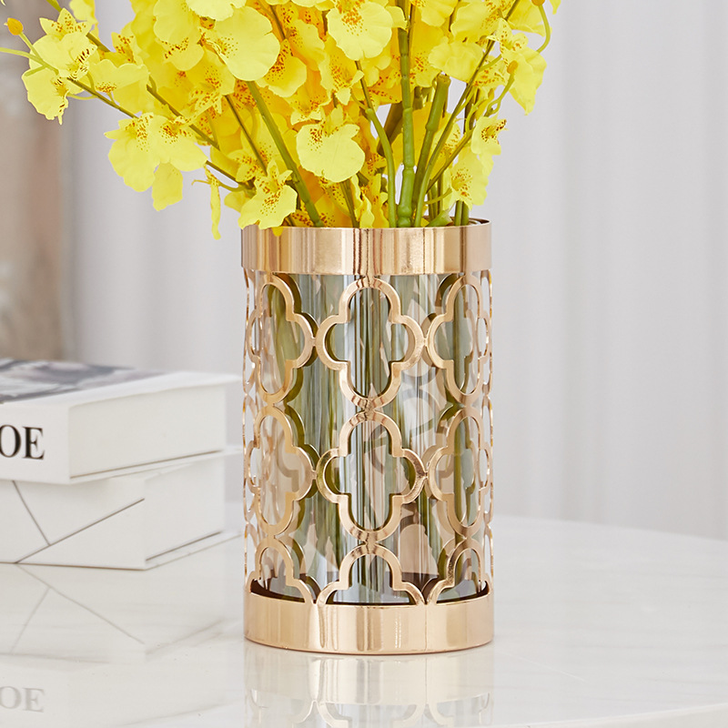 Nordic Modern Gold Metal Vase Flower Windproof Tealight Candle Holders Wedding Centerpieces for Tables Home Decoration Gift F546