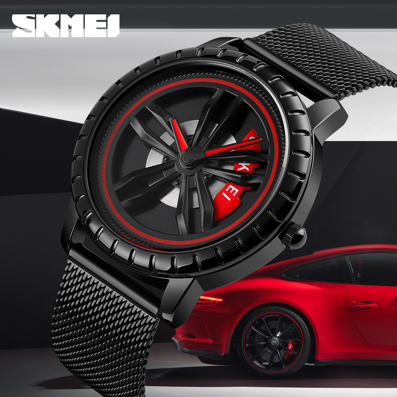 SKMEI Mens Watches Top Brand Luxury Car Wheel Rotating Dial Creative Watches Waterproof Quartz Man Wrist Watch Relogio Masculino