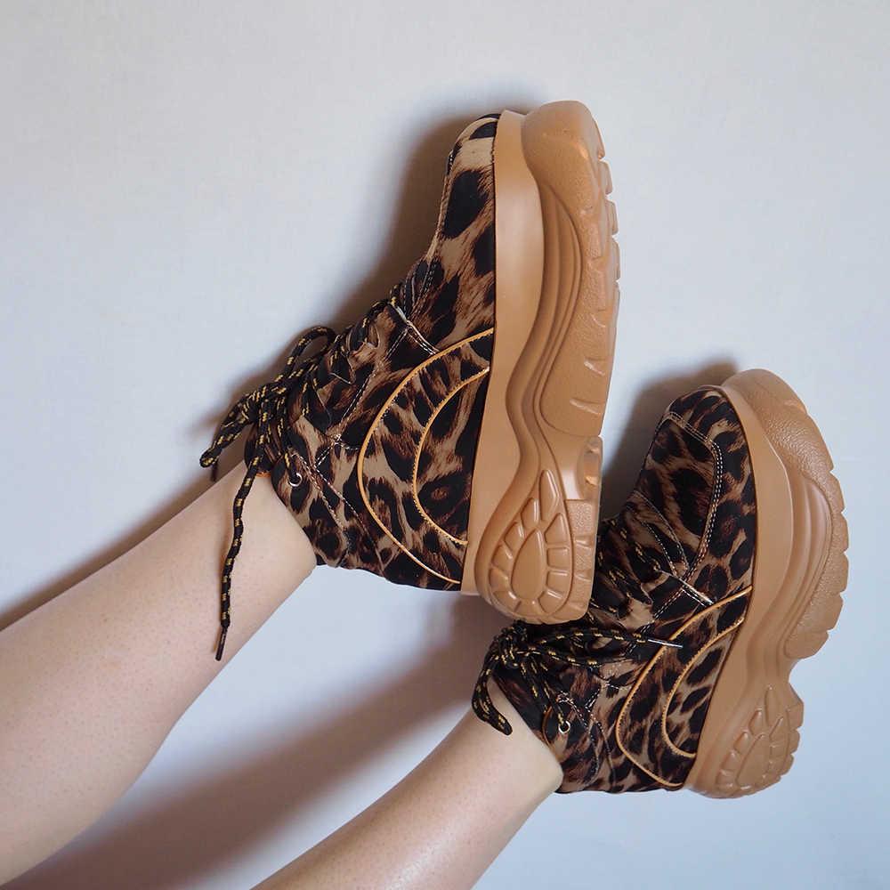 Zapatillas de deporte de plataforma de leopardo para mujer, moda primavera y otoño 2020, zapatos casuales gruesos de LICRA para chicas, zapatos deportivos con suela gruesa