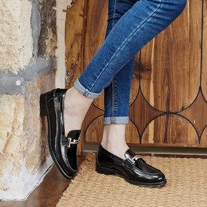 Image 3 - Мокасины BeauToday, женские брендовые туфли на плоской подошве, с круглым носком, без застежек, из лакированной коровьей кожи, ручная работа, 27040