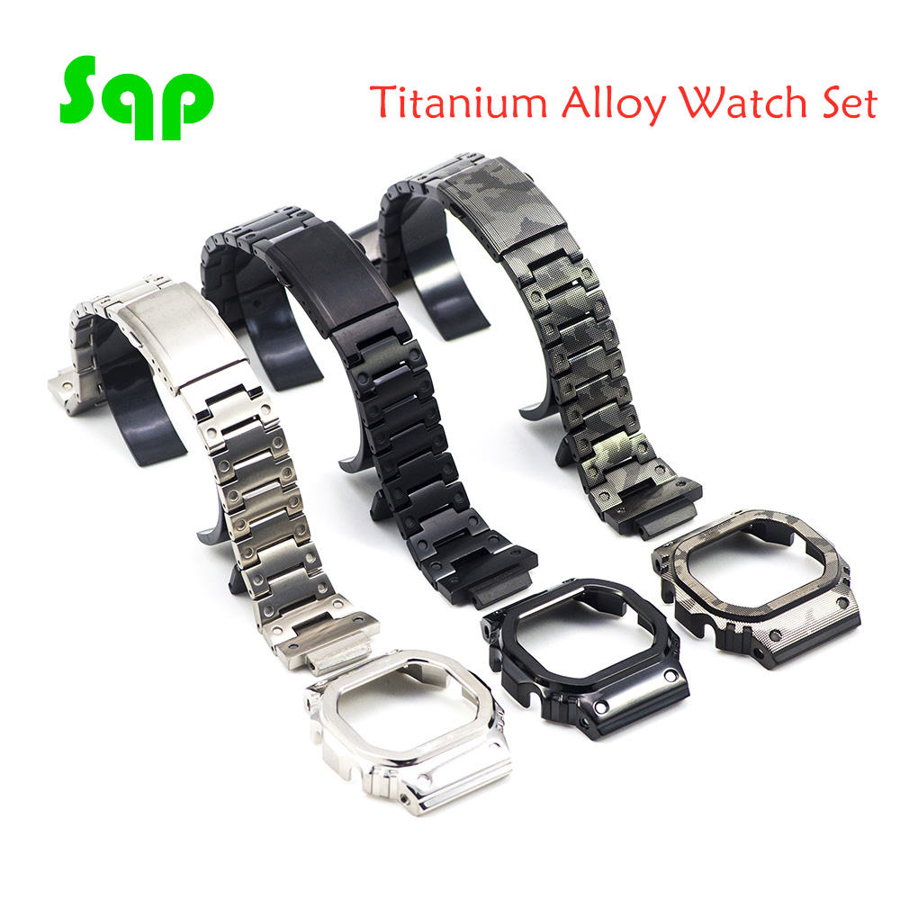 Titanium Alloy DW5600 GW-M5610 Watch Set Watchband Bezel/Case Metal Strap Super Light