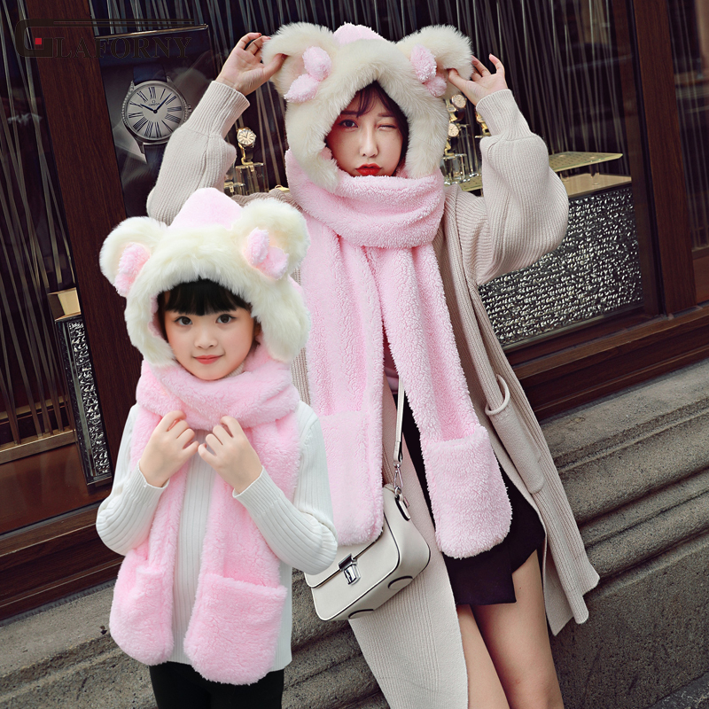 2019 Glaforny Winter Hat Women Korean Version Of Parent-child Hat Thickened Warm Hat Scarf Gloves Outside Against The Cold