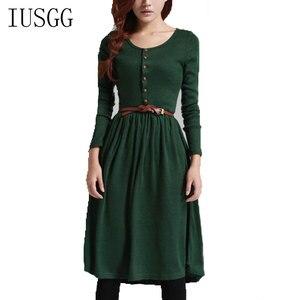 Винтажное вязаное платье с длинным рукавом, зимнее повседневное женское платье 2020 зеленое черное теплое сексуальное платье с поясом миди