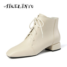 AIKELINYU 2019 Casual Ladies Ankle Boots Fashion Genuine Leather Lace-Up Square head Shoes Outside Handmade Low Heel Women Boots цены онлайн