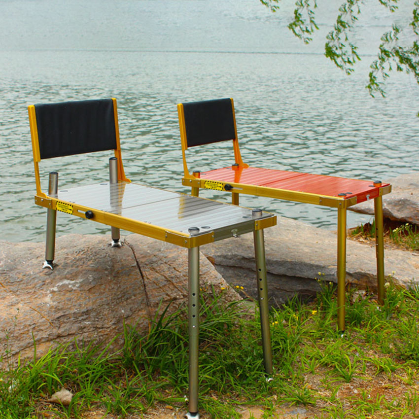 Portable Fishing Table Chair Folding Camping Chair Platform Seat with Backrest Storage Bag Bait Plate Light Stand Rack Pedals
