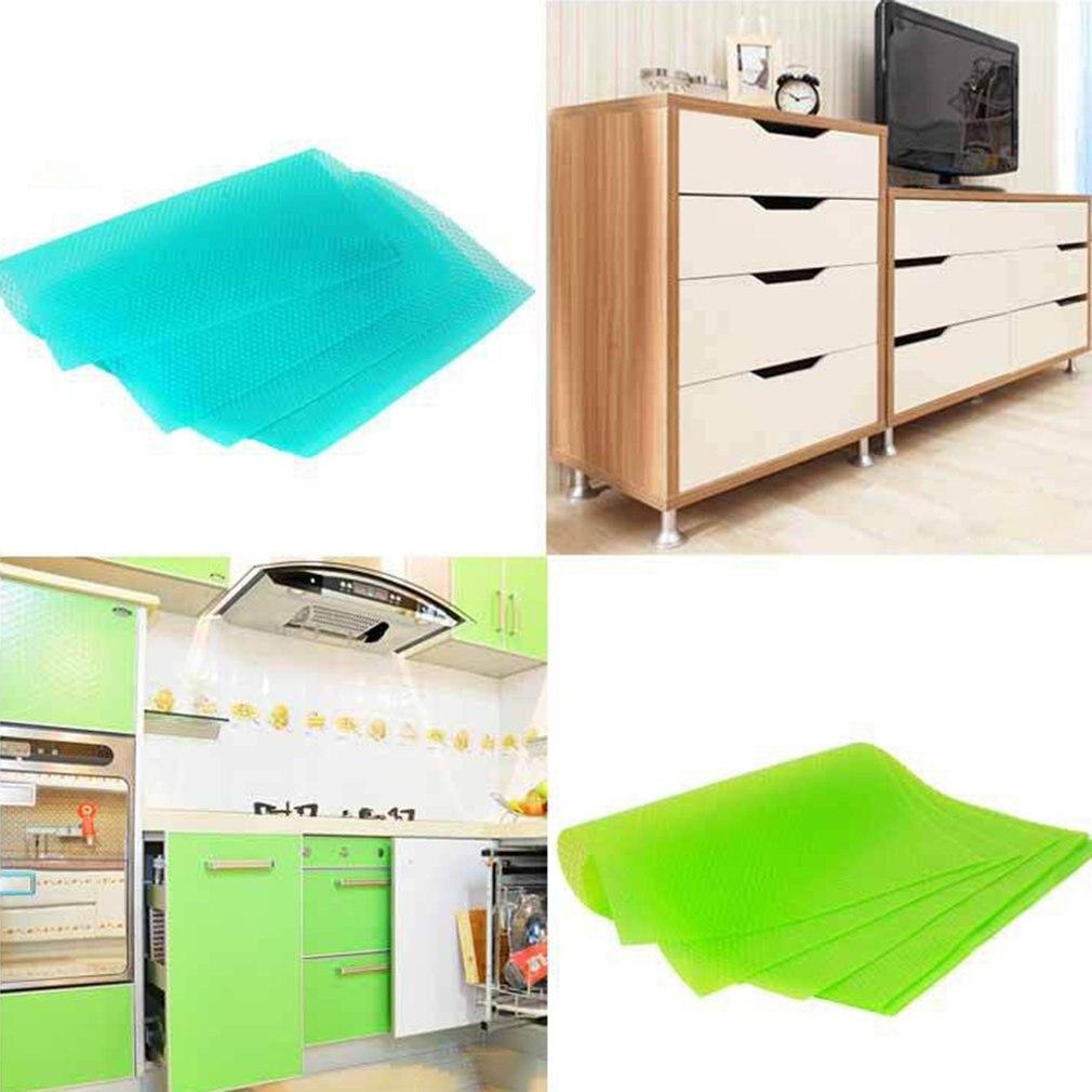 4pcs/set Mildewproof EVA Drawer Mat Pad Cabinet Mat Refrigerator Sheet Kitchen Table Drawer Shelf Liner Waterproof Drawer Paper