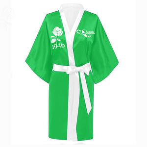 Pajamas Sorority Nightwear Robe-1946 White Ladies Custom Green-Color Number-Links Western