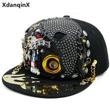 XdanqinX Novelty Personality Hip Hop Cap For Men Women Punk Style Trend Flat Brim Cap Skull Rivet Headdress Decorated Lovers Hat