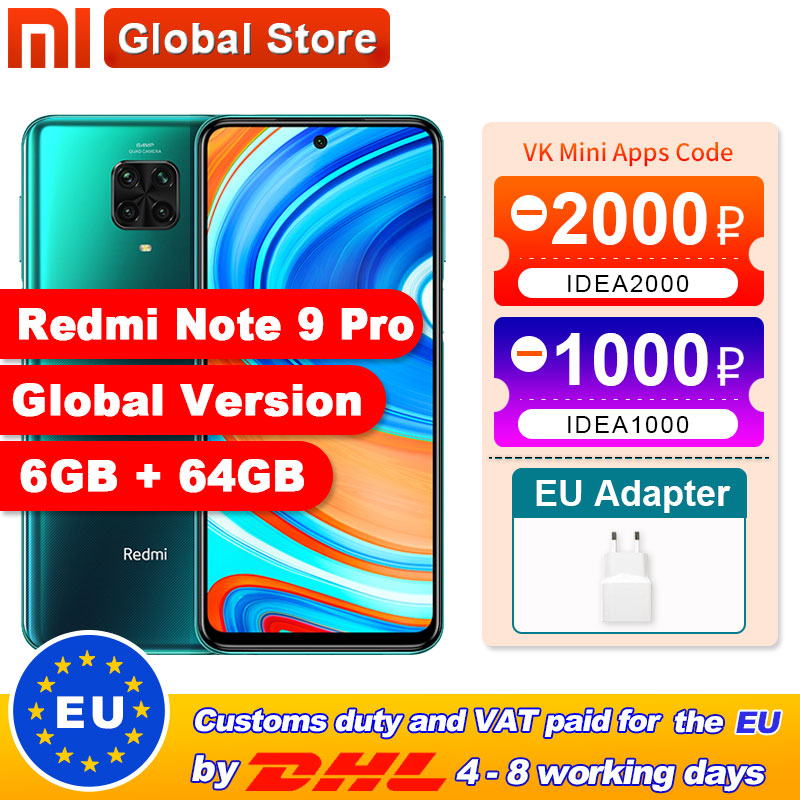 Spain Overseas Global Version Redmi Note 9 Pro 6GB 64GB/6GB 128GB NFC Smartphone Snapdragon 720G Octa Core 64MP Quad Camera(China)