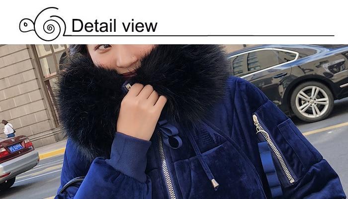 2019 High Quality Winter Jacket Women Velvet Fabric Hooded Thicken Fur_B7_18